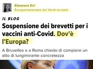 SOSPENSIONE BREVETTO VACCINI: EUROPA, ITALIA, SE CI SIETE BATTETE UN COLPO