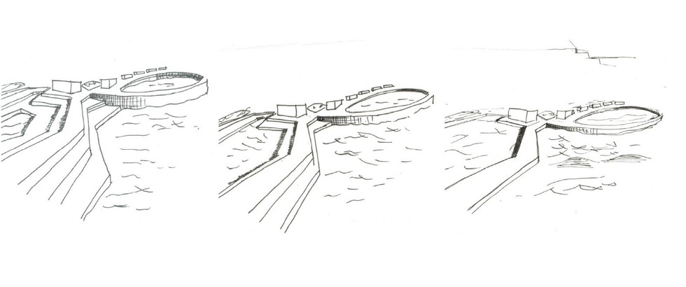 Sketch for initial concept of allowing the rising sea level to gradually reclaim the site around the paths