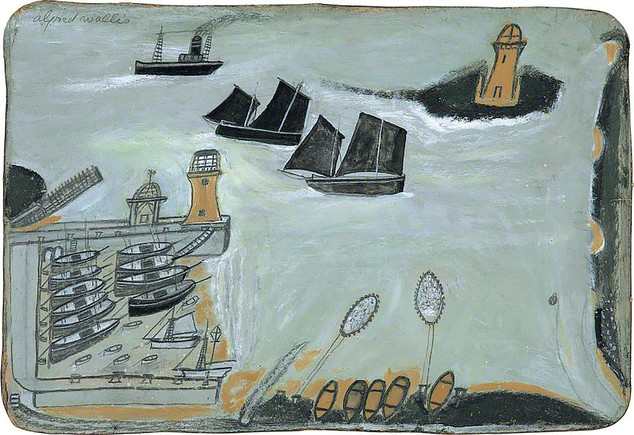 Alfred Wallis Three ships and lighthouse c. 1934-8  Courtesy of The Pier Arts Centre Collection
