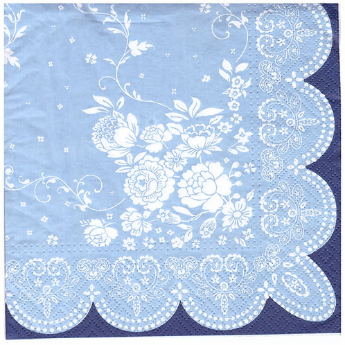 Napkins N1178 Lunch size 33x33cm Blue and white flower doilie