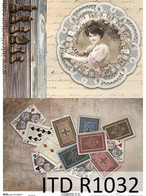 A4 rice paper R1032 Vintage women and cards