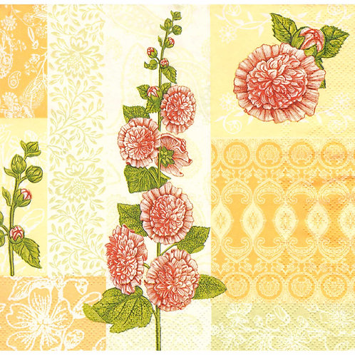 Napkins N1107 Lunch size 33x33cm Flowers mallow