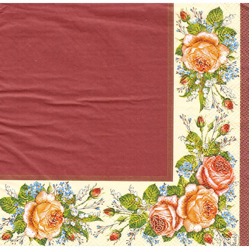 Napkins N1128 Lunch size 33x33cm Flowers roses frame