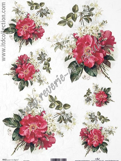 A4 rice paper R1199 Vintage wild roses