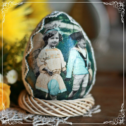 Vintage kids - hand decorated egg on wicker wreath