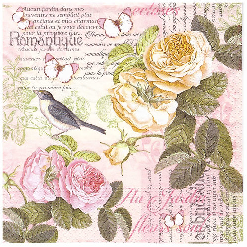 Napkins Lunch size 33x33cm Birds and roses