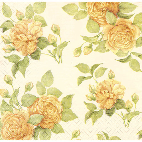 Napkins N1121 Lunch size 33x33cm Flowers roses yellow