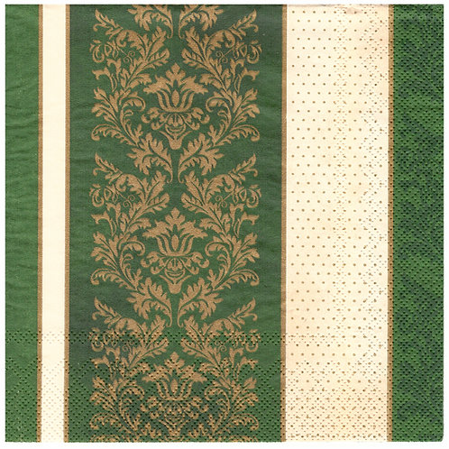 Napkins N1155 Lunch size 33x33cm Green ornate flowers striped pattern
