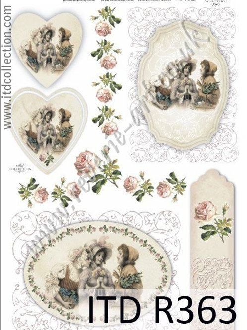 A4 rice paper R363 Vintage Valentines
