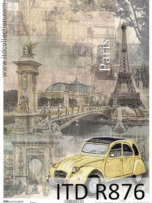 A4 rice paper R876 Vintage cities