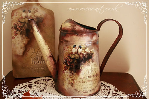 Autumn birds - hand decorated watering can