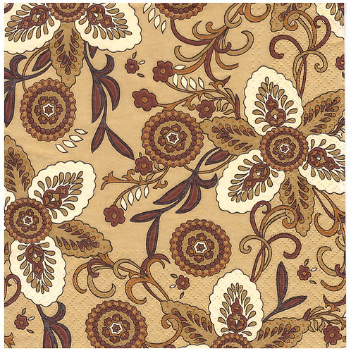 Napkins N1142 Lunch size 33x33cm Brown flowers pattern