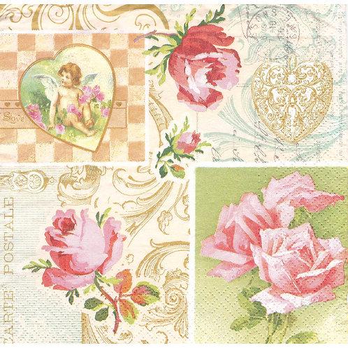 Napkins N1116 Lunch size 33x33cm Flowers roses vintage