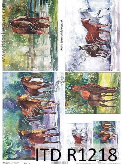 A4 rice paper R1218 Horses