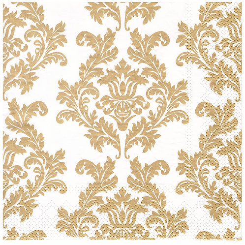 Napkins N1149 Lunch size 33x33cm Gold and white flowers pattern