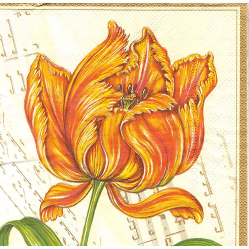 Napkins N1085 Lunch size 33x33cm Flowers orange tulip
