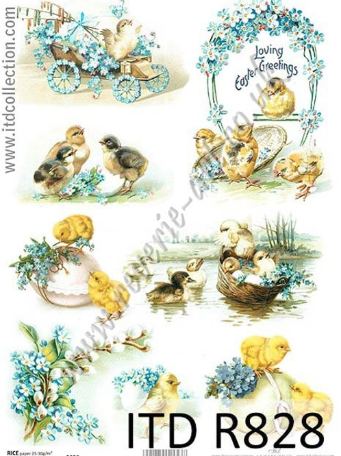 A4 rice paper R828 Vintage Easter