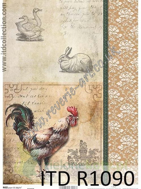 A4 rice paper R1090 Vintage rooster