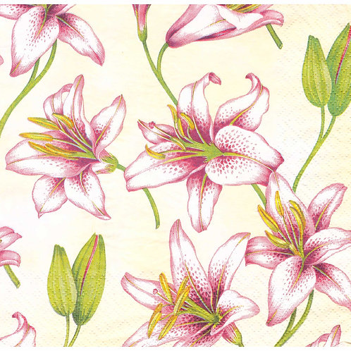 Napkins N1095 Lunch size 33x33cm Flowers Lily