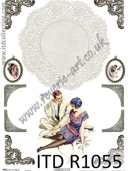 A4 rice paper R1055 Vintage Valentines