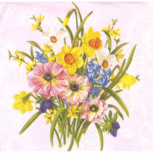 Napkins N1091 Lunch size 33x33cm Flowers spring
