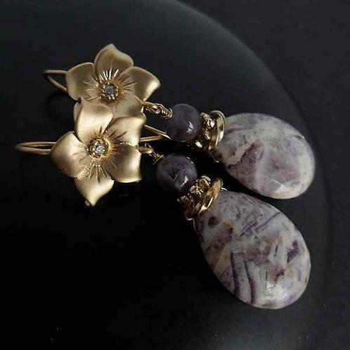 Romantic jasper - Earrings with jasper and amethyst