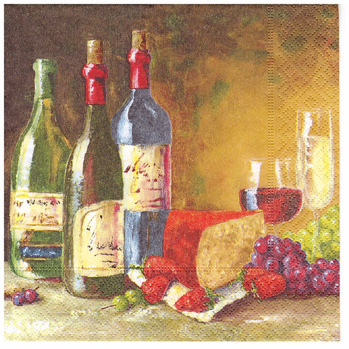 Napkins Lunch size 33x33cm wine and chees
