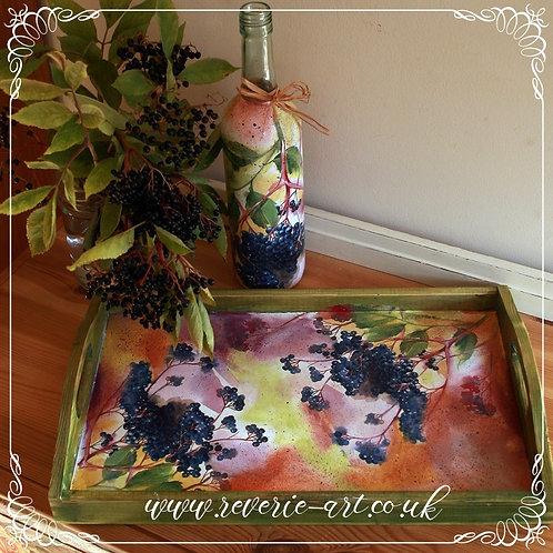 Elderberry - decorative bottle and large tray set