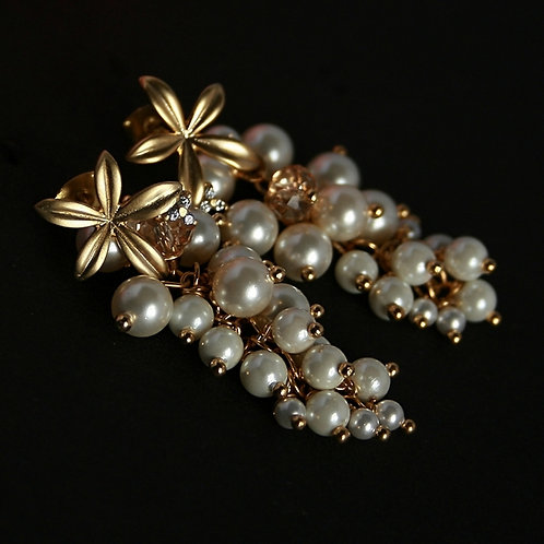 Orchids and pearls - long earrings with Swarovski