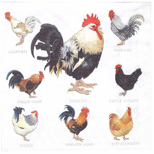 Napkins N963 Lunch size 33x33cm Hens and roosters