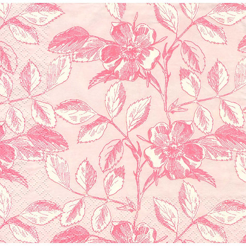 Napkins N1121 Lunch size 33x33cm Flowers roses wild pink