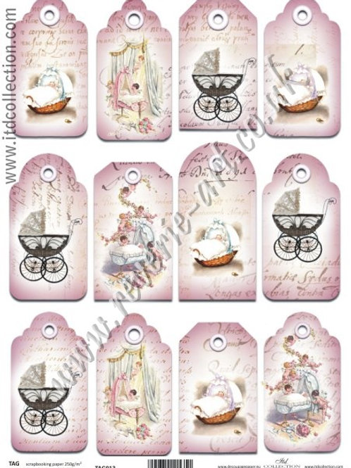 Scrapbooking and craft paper A4 - TAG vintage baby 013