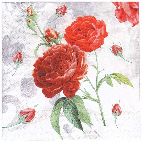 Napkins Lunch size 33x33cm Red roses