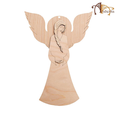 Angel 30cm birch plywood, hanging plaque