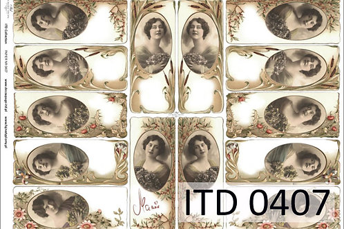 Classic paper for decoupage A3 size - Vintage photo frames