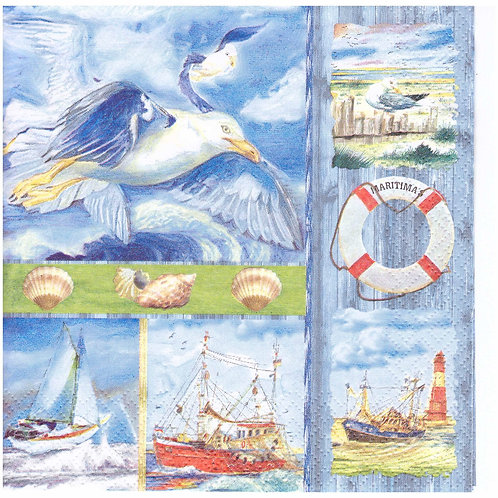 Napkins N1008 Lunch size 33x33cm Sea, seaside, seagulls, landscape, beach, yacht, barge