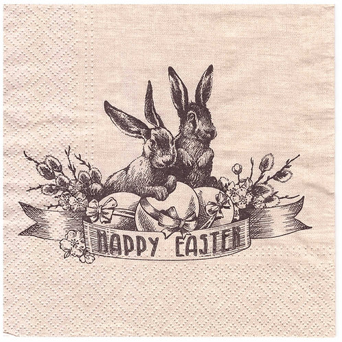 Napkins N947 Lunch size 33x33cm Happy Easter sepia black print hare