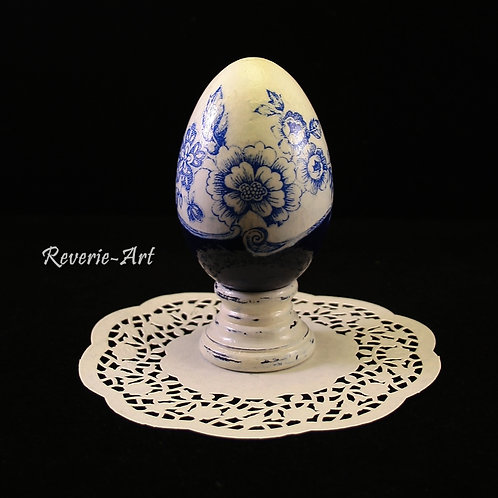 Blue flowers - hand decorated  goose egg with stand