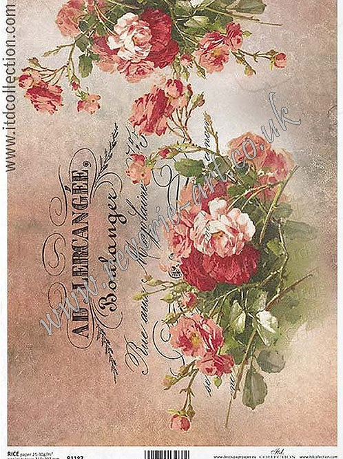 A4 rice paper R1187 Vintage roses