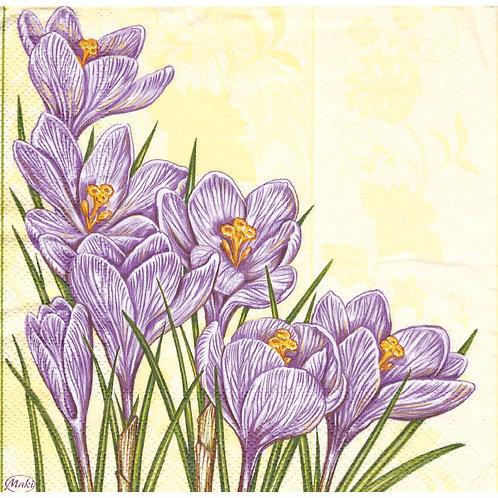 Napkins N1088 Lunch size 33x33cm Flowers crocuses spring