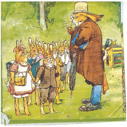 Napkins N1063 Lunch size 33x33cm Rabbits school