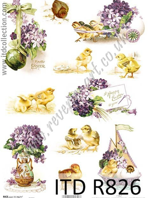 A4 rice paper R826 Vintage Easter