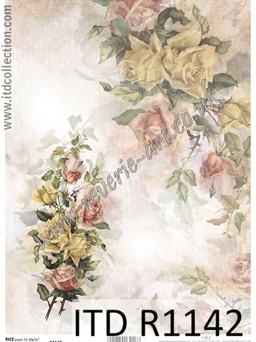 A4 rice paper R1142 Vintage roses