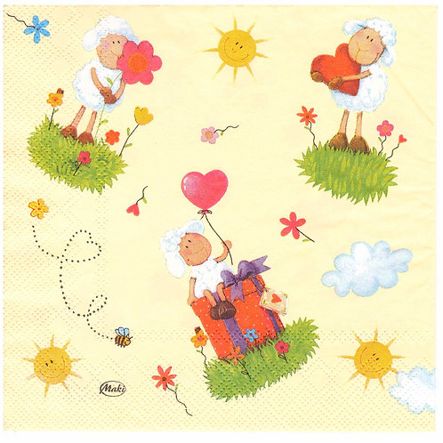 Napkins N1059 Lunch size 33x33cm Sheeps