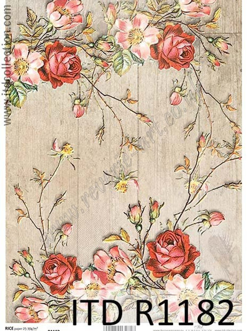 A4 rice paper R1182 Vintage roses