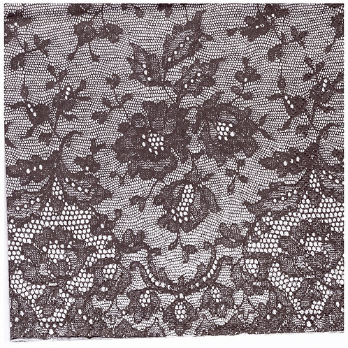 Napkins N1145 Lunch size 33x33cm Black and white lace flowers pattern