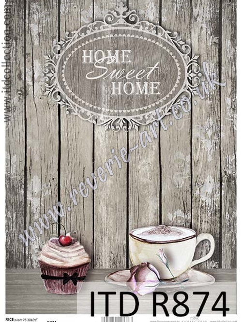 A4 rice paper R874 Shabby cupcake Home sweet home