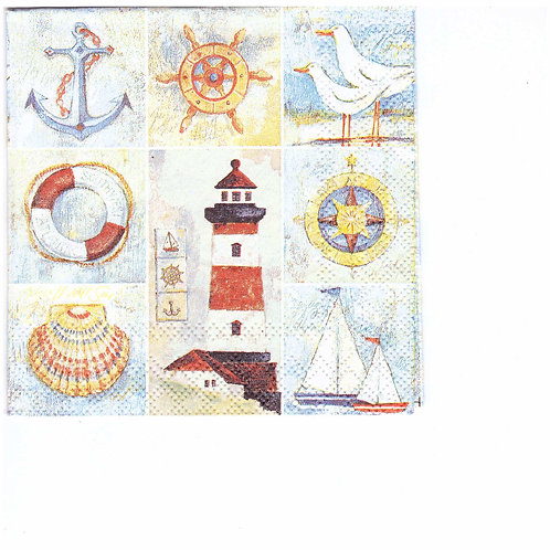 Napkins C046 cocktail size 25x25cm Lighthouse, sea, seagulls