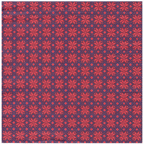 Napkins N1169 Lunch size 33x33cm Red and blue pattern