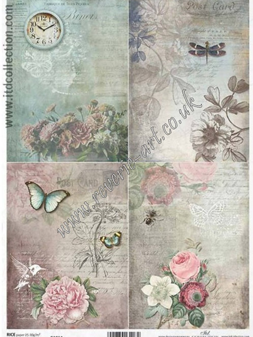 A4 rice paper R1064 Vintage backgrounds